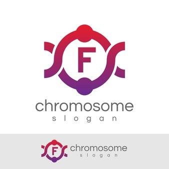 Cromosoma iniziale lettera f logo design