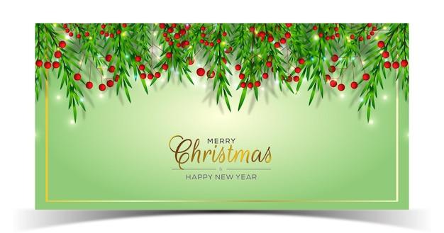 Disegno di sfondo natalizio con ramo e bacche
