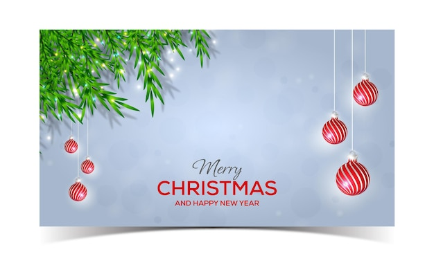 Disegno di sfondo natalizio con palline rosse di rami