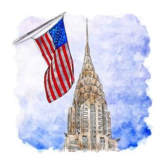 Illustrazione disegnata a mano di schizzo dell'acquerello di chrysler building new york