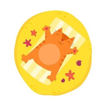Il gatto rosso paffuto prende il sole sulla spiaggia. carattere carino brillante estate. gattino affascinante sulla vacanza della spiaggia. Vettore Premium