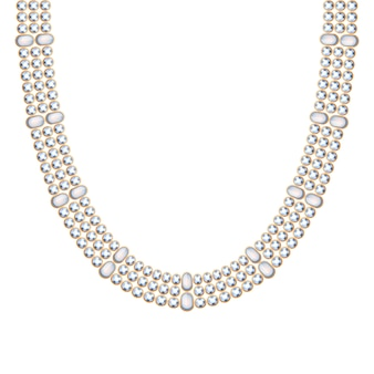 Grossa catena con collana o braccialetto di pietre preziose di perle. stile indiano etnico accessorio di moda personale.