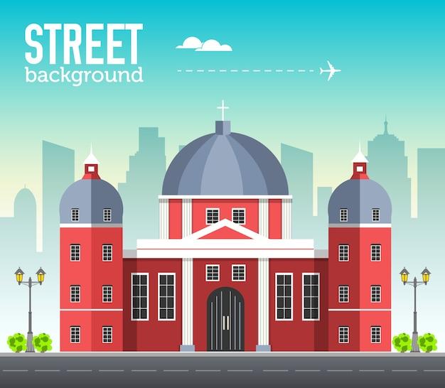 Edificio della chiesa nello spazio della città con la strada sul concetto di sfondo piatto syle