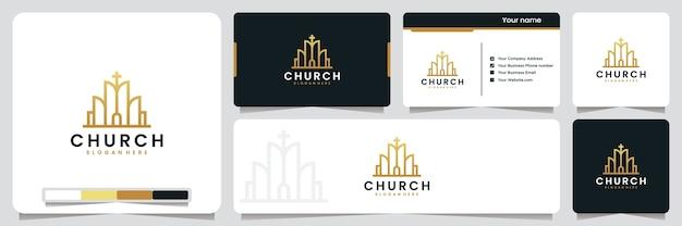Chiesa, edificio, con colore oro, ispirazione per il design del logo