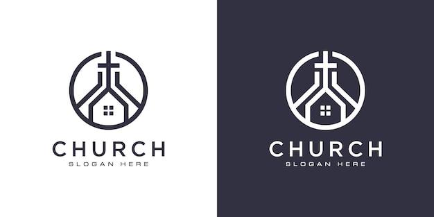 Vettore di progettazione del logo cristiano della chiesa