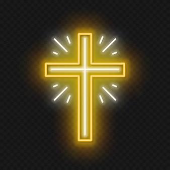 Insegna al neon croce chiesa. simbolo incandescente della crocifissione.