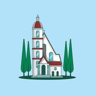 Chiesa icona piatta edificio colorato
