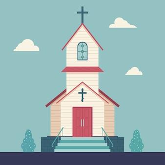 Illustrazione piatta chiesa su uno sfondo di paesaggio.