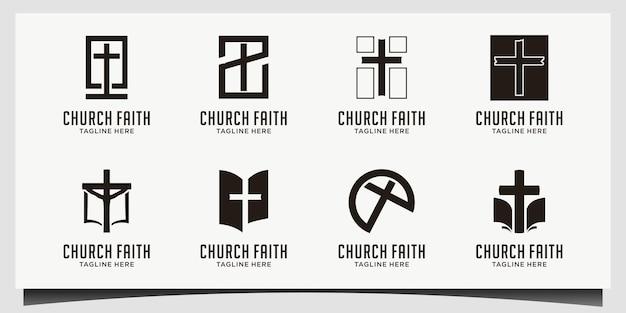 Logo della chiesa. simboli cristiani o cattolici. croce simbolo dello spirito santo