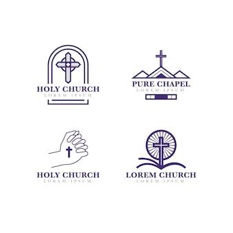 Collezione stile logo chiesa Vettore Premium