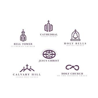 Insieme di modelli di logo chiesa