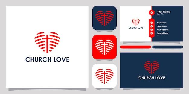 Logo e biglietto da visita del modello di simbolo dell'icona del logo dell'amore della chiesa