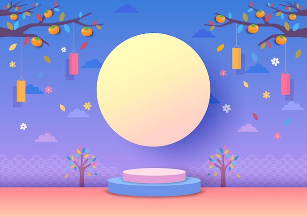 Festival di chuseok e metà autunno con sfondo di luna piena.