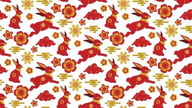 Chuseok, modello senza cuciture del festival di metà autunno in stile cinese. texture ripetuta, sfondo. illustrazione vettoriale.