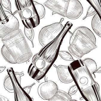 Modello senza cuciture di bottiglie di sidro. carta da parati con alcol di frutta. concetto di menu del ristorante e del bar. stile vintage inciso. illustrazione vettoriale monocromatica.