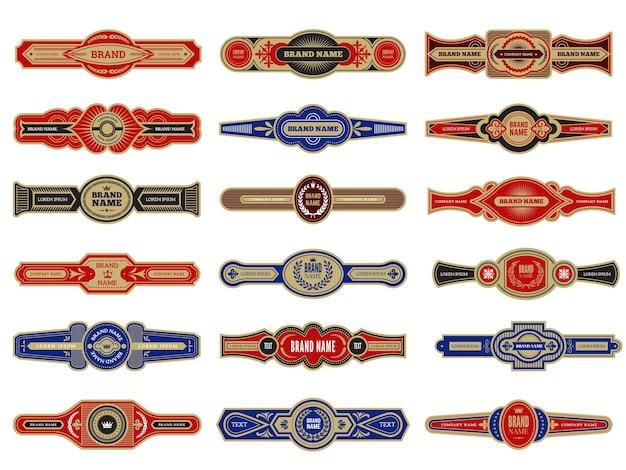 Distintivi di sigari. modello di set di etichette vintage per la raccolta di disegni vettoriali di sigari. set di etichette di tabacco per sigari di illustrazione con logotipo