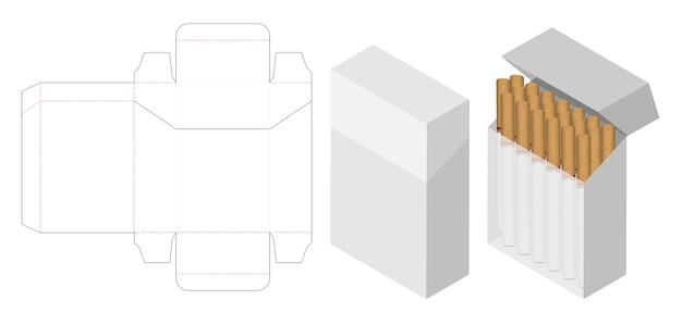 Scatola di sigarette 3d mockup con scatola dieline