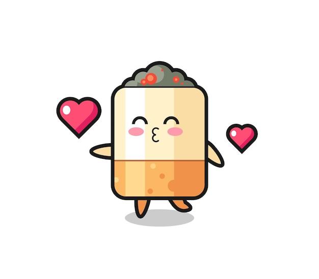 Fumetto del personaggio di sigaretta con gesto di bacio, design carino