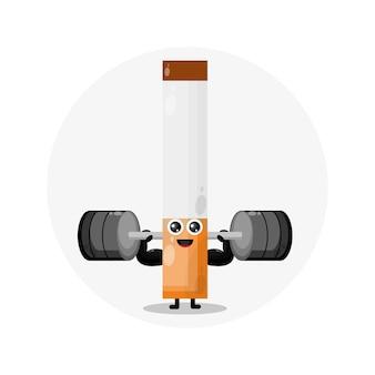 Sigaretta fitness simpatico personaggio logo