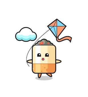 L'illustrazione della mascotte della sigaretta sta giocando a kite, design carino