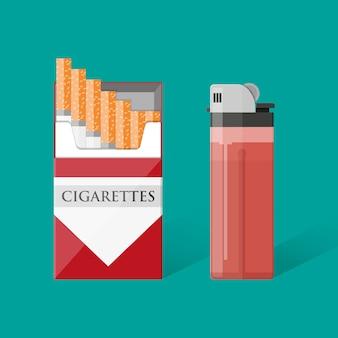 Pacchetto di sigarette con sigarette e accendino