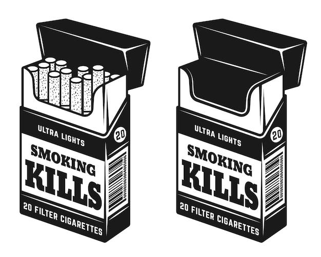 Pacchetto aperto di sigarette con iscrizione di avvertimento che fumo uccide