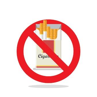 Segno di proibizione del pacchetto di sigarette