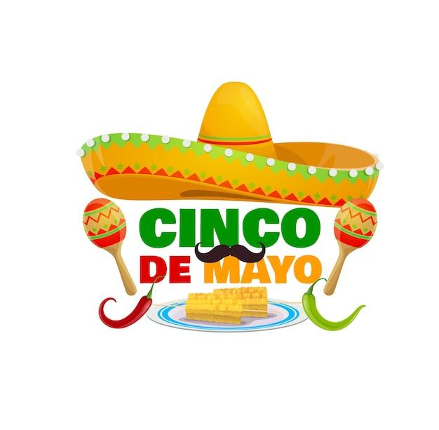 Icona di vacanza cinco de mayo con cappello sombrero messicano