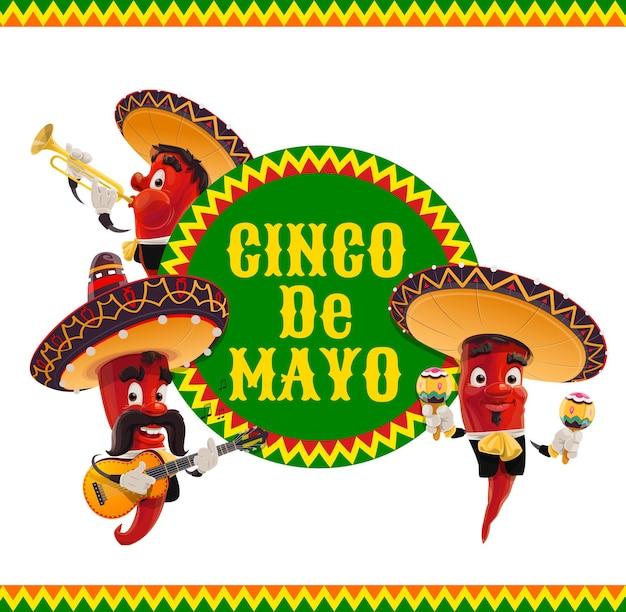 Icona cinco de mayo, musicisti jalapenos in sombrero messicano che suona la chitarra
