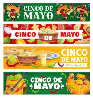 Cinco de mayo peperoncino jalapeno in sombrero che suona musica