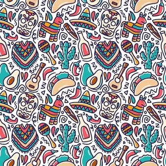Modello senza cuciture di doodle messicano cinco de mayo