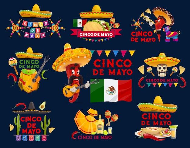 Cinco de mayo icone di vacanza messicana