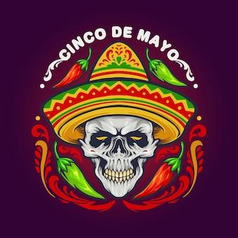 Teschio messicano cinco de mayo con illustrazioni di cappello
