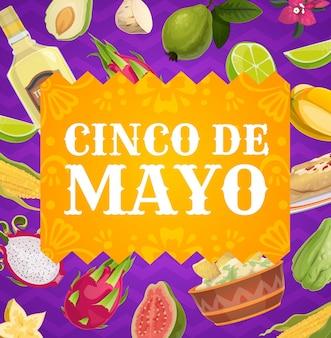 Poster di cinco de mayo, confine festivo di festa messicana con cibo messicano