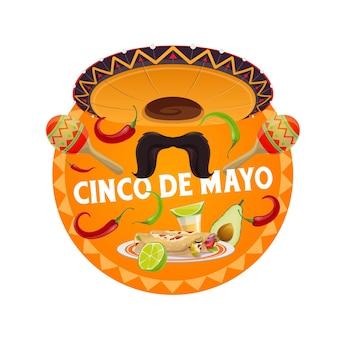 Bandiera rotonda cinco de mayo con cappello sombrero messicano tradizionale