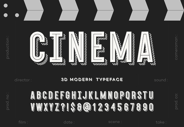 Carattere tipografico moderno del cinema 3d