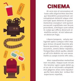 Banner pubblicitario cinematografico con attrezzature cinematografiche simboliche