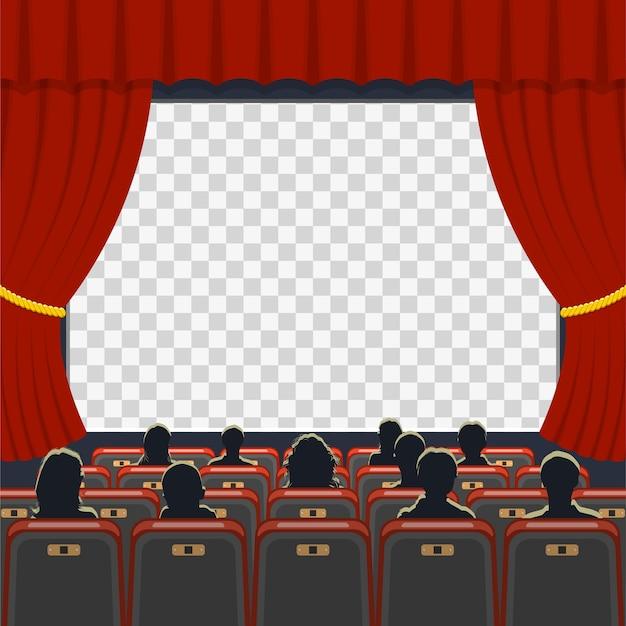 Icone di cinema auditorium con posti a sedere, pubblico e schermo trasparente,