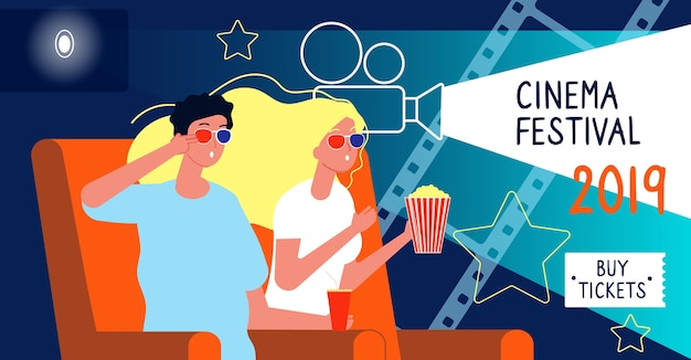 Banner di cinema. concetto di festival cinematografico con personaggi felici che guardano il disegno vettoriale del cartello del film con il posto per il testo. animazione di poster di film, illustrazione di premiere banner cinematografico