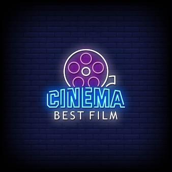 Testo di stile delle insegne al neon del logo del miglior film del cinema