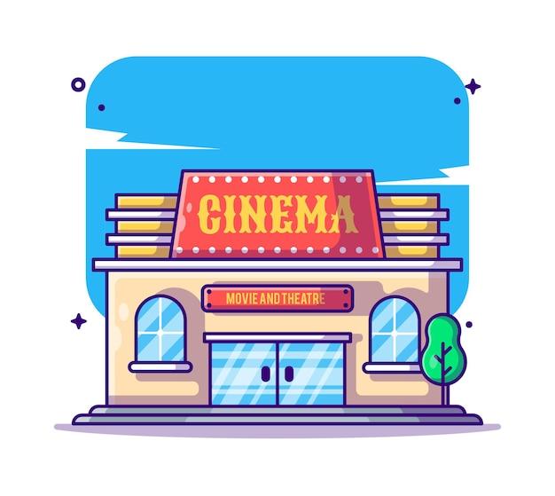 Illustrazione del fumetto di edificio e punto di riferimento del cinema Vettore Premium
