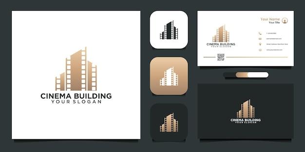 Modello di progettazione del logo dell'edificio del cinema con rotolo di pellicola e biglietto da visita