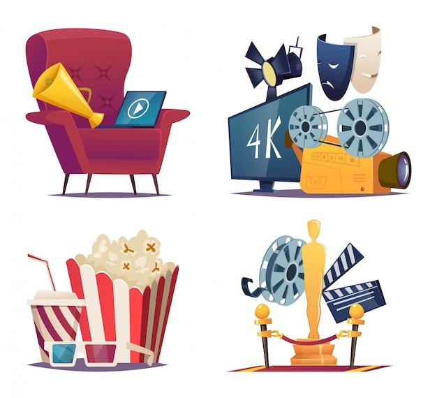 Cartone animato cinema le collezioni concettuali di spettacolo con i simboli del megafono del cinema e del teatro mascherano il vettore di vetro del popcorn