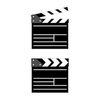 Clapboard del cinema isolato su fondo. piatto. Vettore Premium