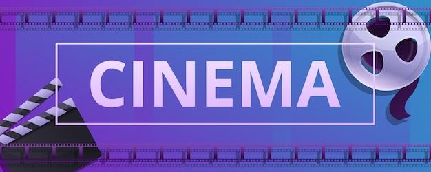 Banner di concetto di cinema, stile cartoon