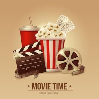 Manifesto del concetto di cinema con striscia di pellicola ciotola di popcorn e biglietti realistici dettagliati