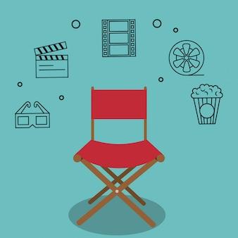 Sedia da regista cinematografica con icone