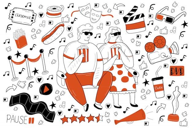 Insieme di doodle del cinema Vettore Premium