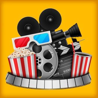Illustrazione di elementi del cinema