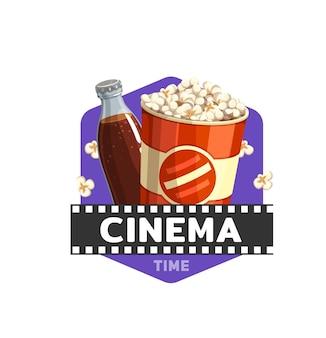 Icona del cibo del cinema con film, popcorn e bevande, vettore. cinema teatro o cinema fast food bistrot o snack bar segno con secchio popcorn e bottiglia di bibita gassata